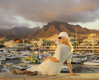 Woman near the yachts Royalty Free Stock Photo
