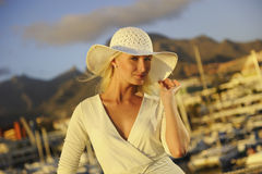 Woman near the yachts Royalty Free Stock Images