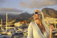 Woman near the yachts Stock Photo