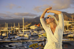 Woman near the yachts Stock Image