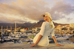 Woman near the yachts Royalty Free Stock Image
