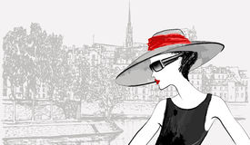 Woman nearby Ile de la cite in Paris Royalty Free Stock Image