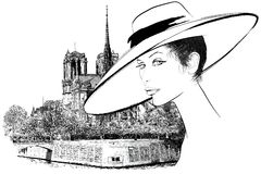 Woman nearby Notre Dame in Paris. Vector representation of a woman nearby Notre Dame in Paris (hand drawing Stock Photos