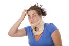 Uncertain Future Injury. A woman with a neck brace worried about the consequences of the accident Royalty Free Stock Photo