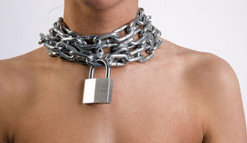Woman Wearing Metal Neck Chain Link Padlock Stock Photography