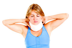 Woman with a neck injury Royalty Free Stock Photos