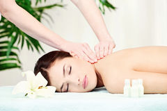 Woman on neck massage stock image