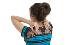 Woman with neck pain. Woman got neck pain, isolated on white background stock photography