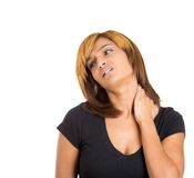 Woman with neck pain Royalty Free Stock Photo
