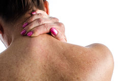 Woman with neck pain Royalty Free Stock Images