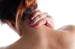 Woman with neck pain Stock Image