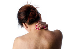 Woman with neck pain Royalty Free Stock Photos