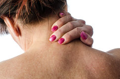 Woman with neck pain Stock Photos