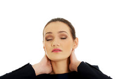 Woman with neck pain. Stock Images