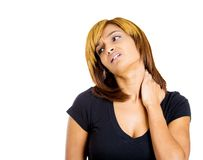 Woman with neck pain Stock Photo