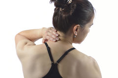 Woman with neck pain Royalty Free Stock Image