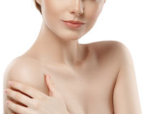 Woman neck shoulder lips nose chin cheeks Royalty Free Stock Photography