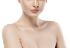 Woman neck shoulder lips nose chin cheeks Royalty Free Stock Images