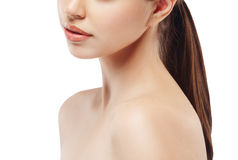 Woman neck shoulder lips nose chin cheeks Royalty Free Stock Image