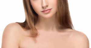 Woman neck shoulder lips nose Royalty Free Stock Photo