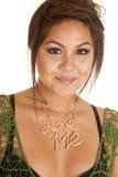 Woman necklace love me smile Stock Photos