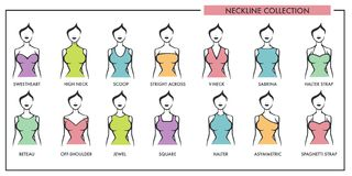 Woman Neckline Type Models Collection Vector Female Dress Necklines Style Isolated Cons Royalty Free Stock Photos