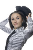 Woman with necktie and hat Stock Image