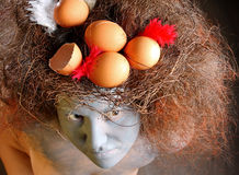 Woman with a nest in hair Stock Photo