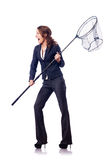 Woman with net Royalty Free Stock Image