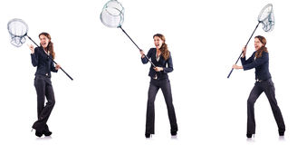 The woman with net Stock Images