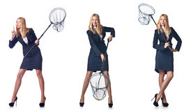 The woman with net Stock Photo