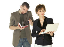 Woman with netbooks and man with notebook. Woman with netbooks and men with notebook doing business on white background Stock Photos
