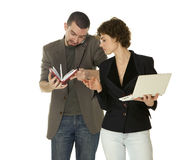 Woman with netbooks and man with notebook Stock Photos