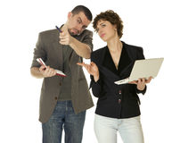 Woman with netbooks and man with notebook Royalty Free Stock Photo