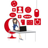 Woman network. A young woman is sitting in front of a computer, network concept Royalty Free Stock Photos