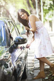 Woman with new car Royalty Free Stock Photography