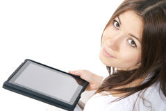 Woman new electronic tablet touch pad Royalty Free Stock Photos