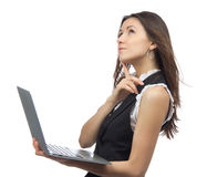 Woman with new modern popular laptop keyboard Stock Images