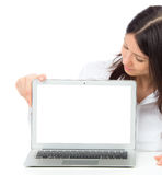 Woman with new modern popular laptop keyboard with blank white s Royalty Free Stock Image