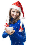 Woman in new year costume on her shoulder Stock Photography