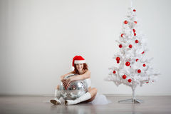 Woman in a New Year's costume Royalty Free Stock Photo