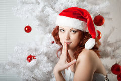 Woman in a New Year's costume Royalty Free Stock Photos