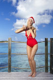 The woman in New Year's Santa-Klaus cap on background of ocean jumps and sends an air kiss Royalty Free Stock Photography