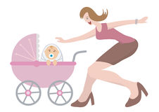 Woman_with_newborn_child. Happy woman with newborn child in a baby coach Stock Image
