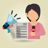 Woman news megaphone speak Royalty Free Stock Photo