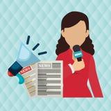 Woman news megaphone speak Stock Images