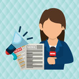 Woman news megaphone speak Royalty Free Stock Photos