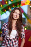 Woman next  Amusement park Royalty Free Stock Photography