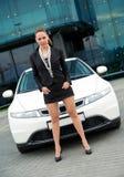 Woman next to her car Royalty Free Stock Photos