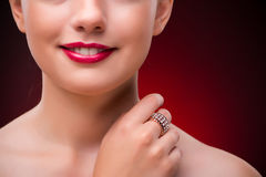 The woman with nice ring in beauty concept Royalty Free Stock Image